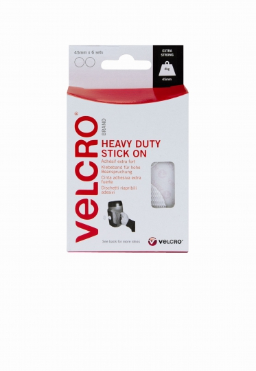 VELCRO® 60249 HEAVY DUTY STICK ON COINS weiss
